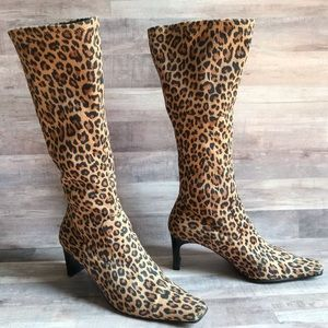 Rampage Finley Square Toe Leopard Print Boots